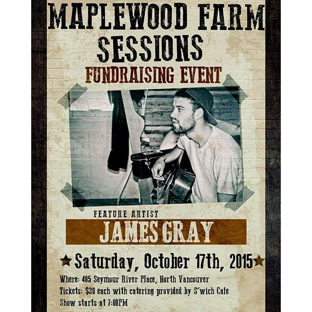 Maplewood Farm Sessions Fundraising Event featuring James Gray
