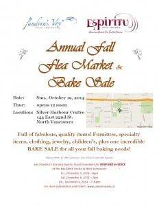 Pandora's Vox & Espiritu Vocal Ensembles Annual Fall Flea Market & Bake Sale