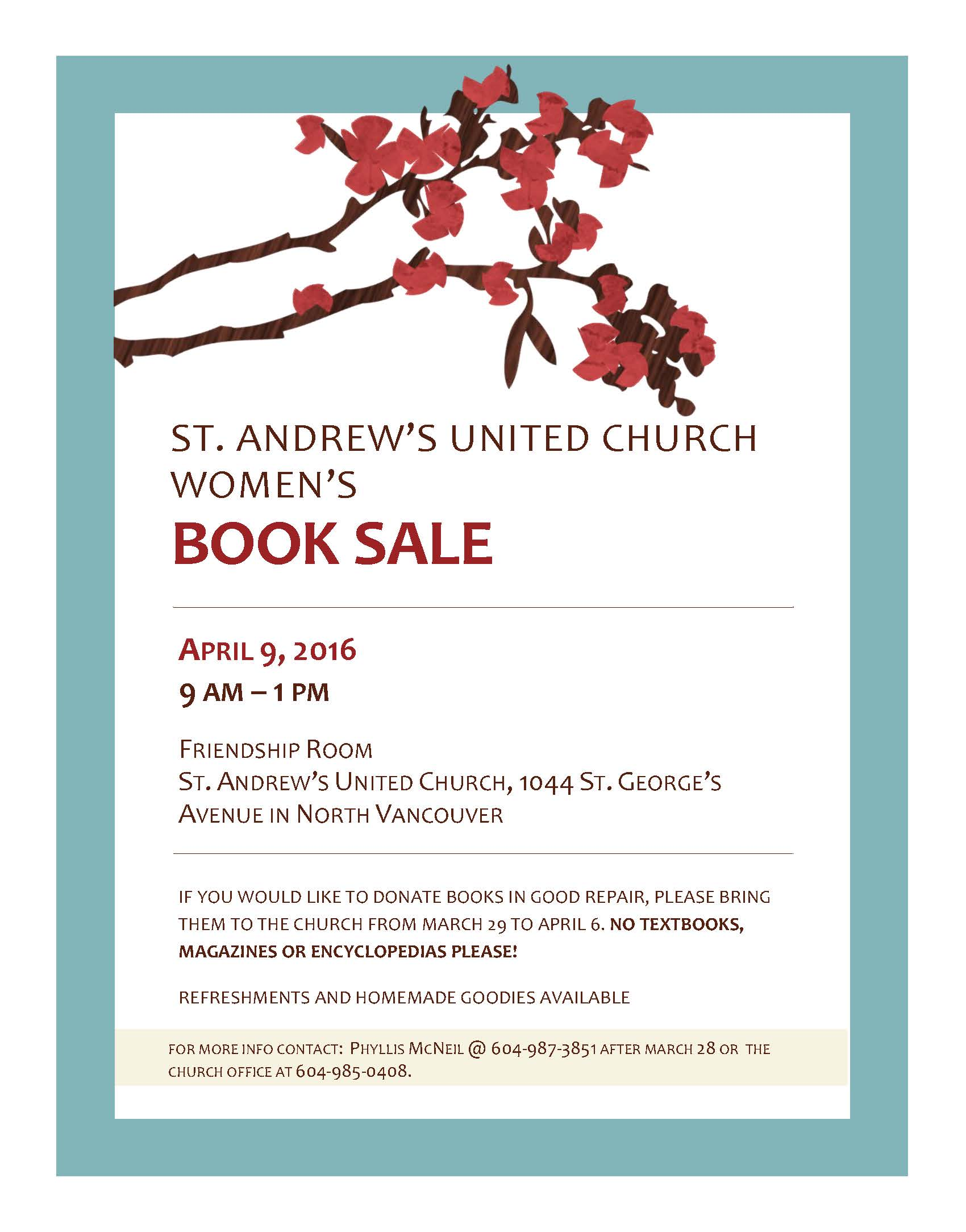 Women's Spring Book Sale at St. Andrew's United Church North Vancouver