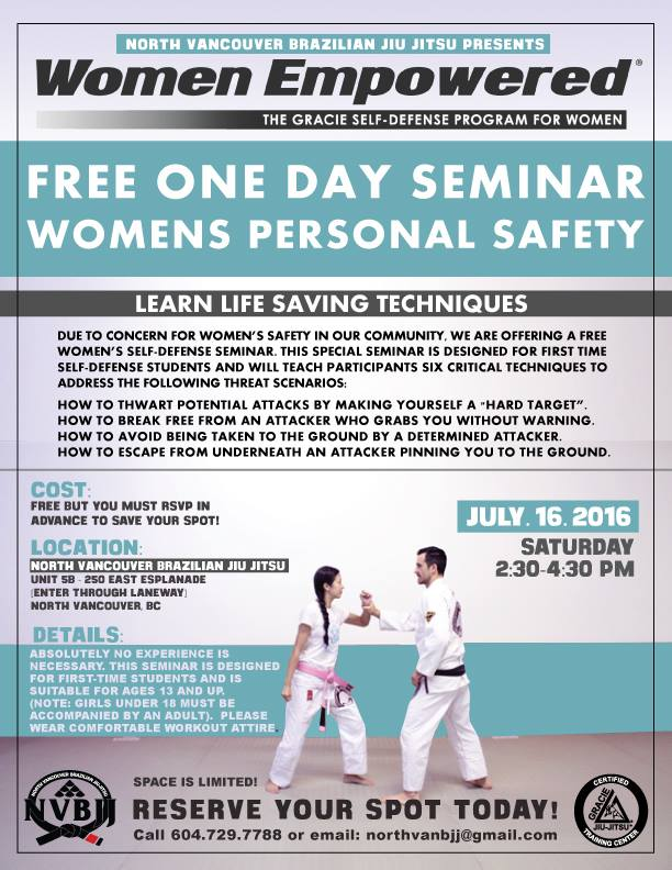 Free One Day Seminar – Women's Personal Safety at North Vancouver Brazilian Jiu-Jitsu