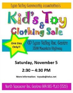 LVCA Kids' Toy & Clothing Sale at the Lynn Valley Rec Centre