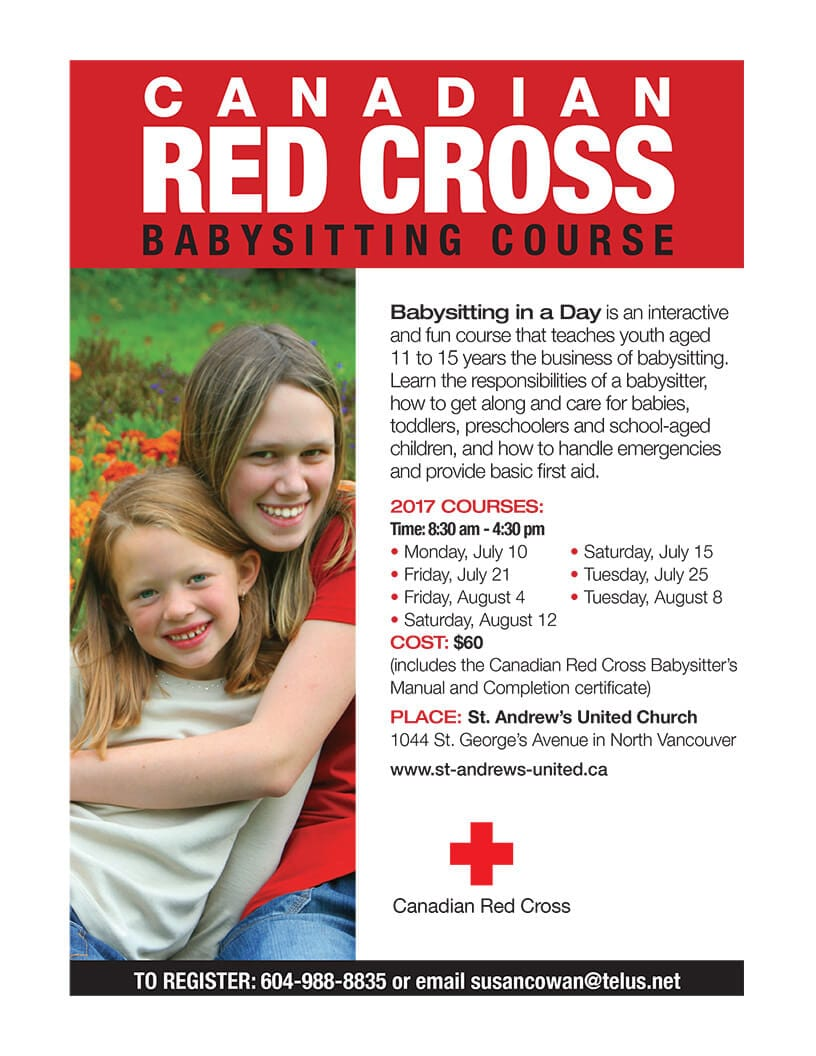 Canadian Red Cross Babysitting Course at St Andrews United Church North Vancouver