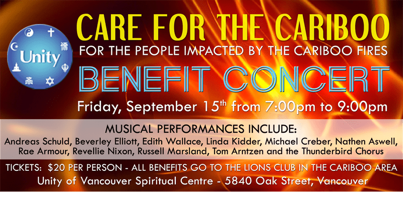 Care For The Cariboo Benefit Concert at the Unity of Vancouver Spiritual Centre
