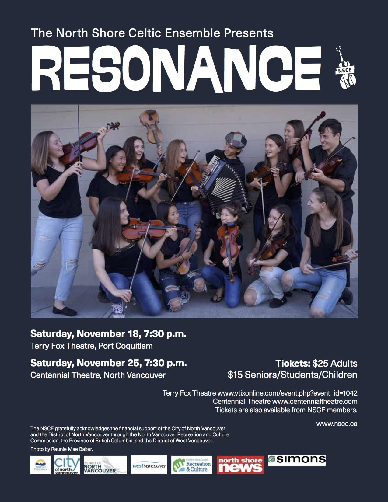 North Shore Celtic Ensemble presents 'Resonance' at the Centennial Theatre North Vancouver
