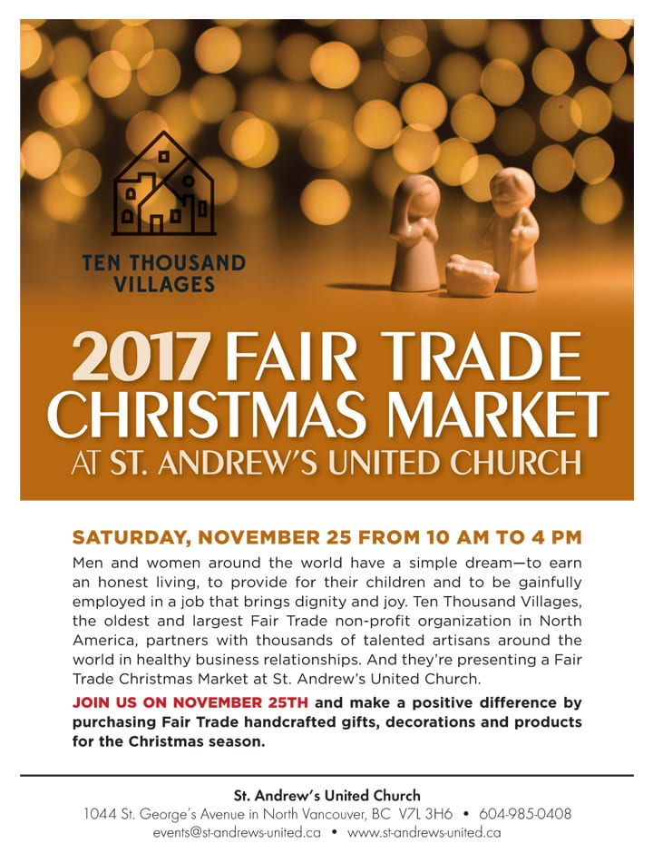 Fair Trade Christmas Market at St. Andrew's United Church North Vancouver