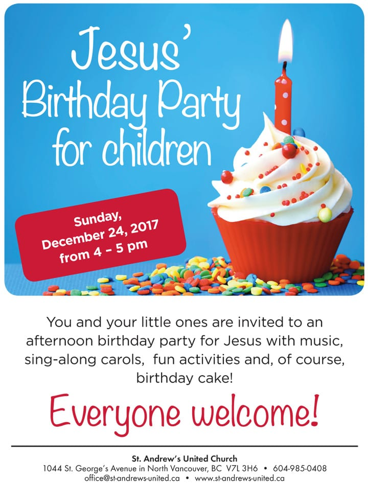 Jesus' Birthday Party for Children at the St. Andrew's United Church North Vancouver