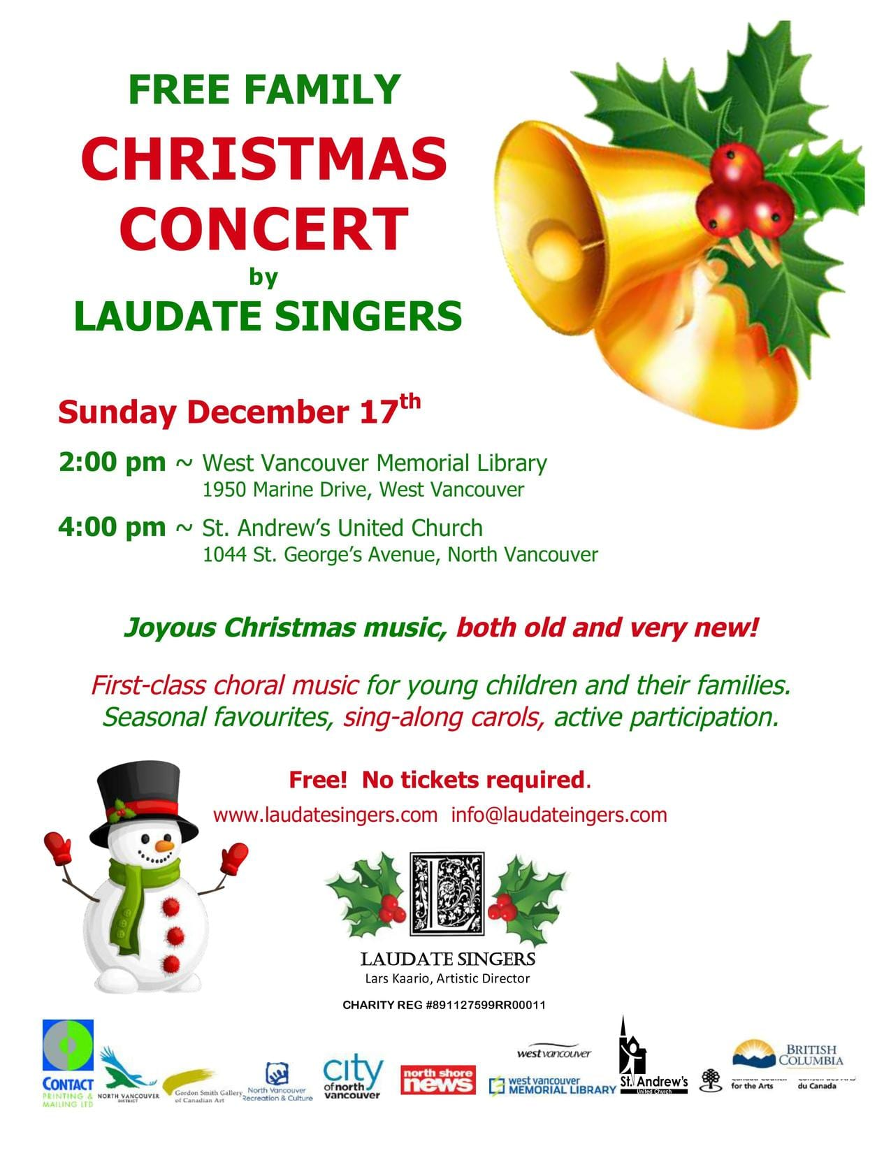 Free Family Christmas Concert at St Andrews United Church North Vancouver