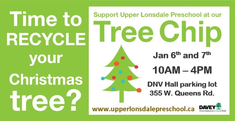 Upper Lonsdale Preschool Tree Chip-Up at the District of North Vancouver Hall Parking Lot
