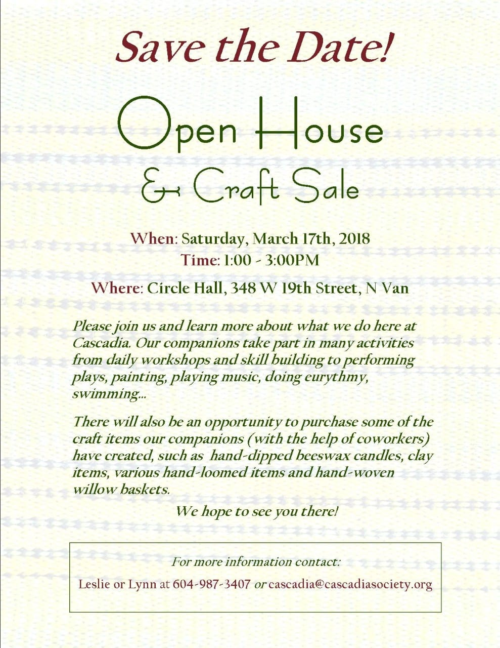Cascadia Society Open House & Craft Sale at Circle Hall North Vancouver