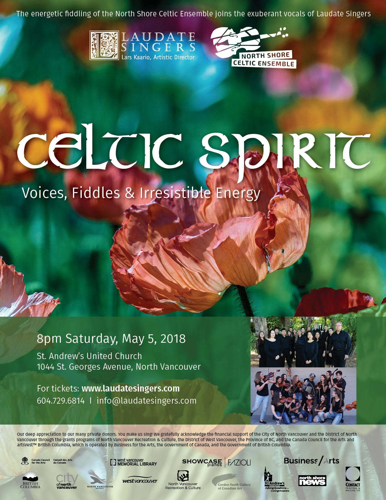 Celtic Spring ~ Voices, Fiddles & Irresistible Energy at St. Andrew's United Church