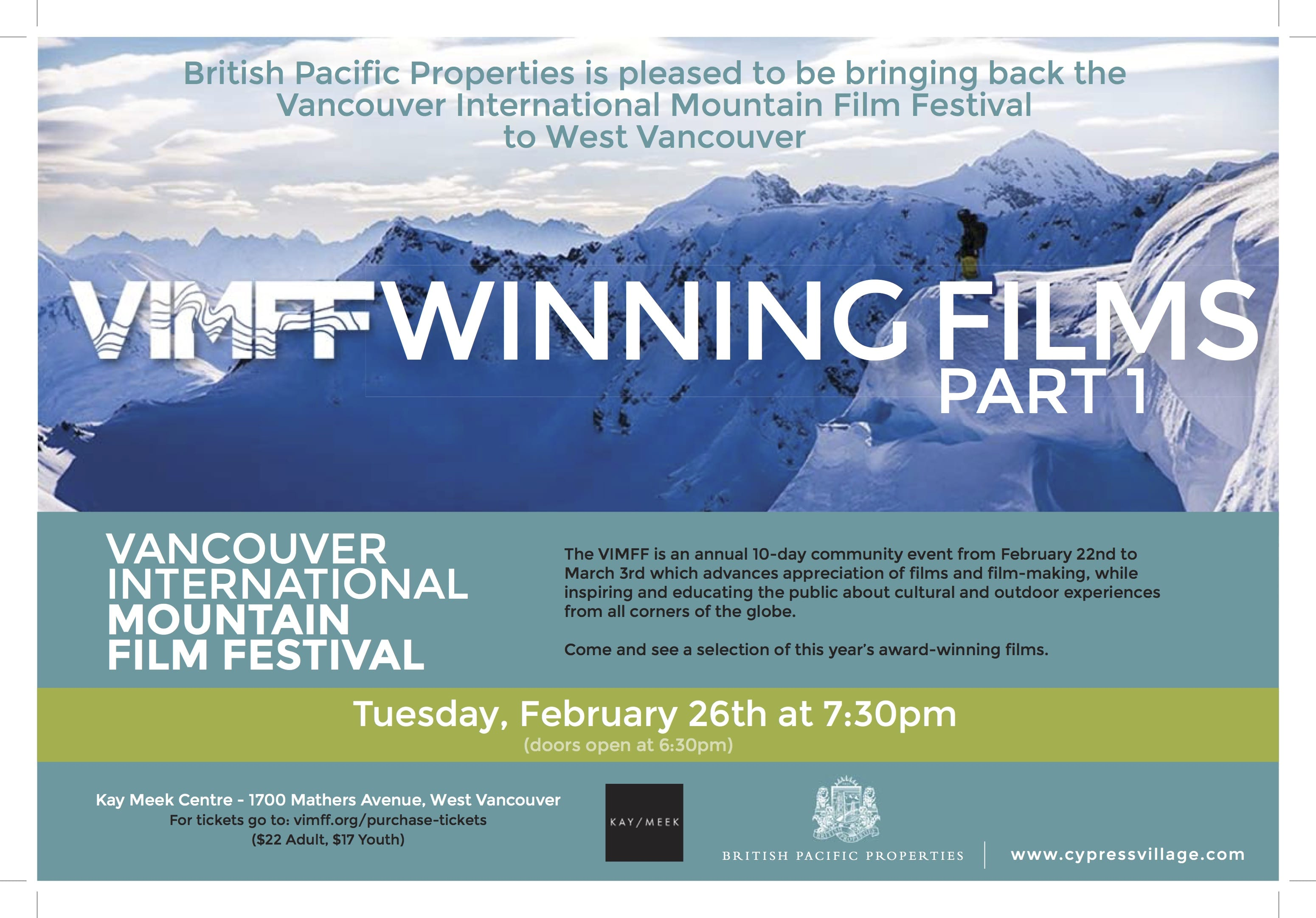 "Vancouver International Mountain Film Festival ""Winning Films Part 1"""