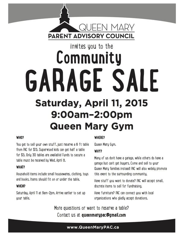 Annual Queen Mary School Community Garage Sale