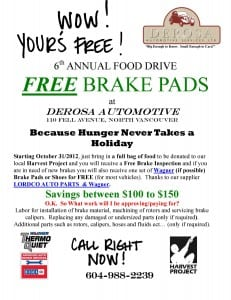 Free Brake Pads for Food Drive – Harvest Project
