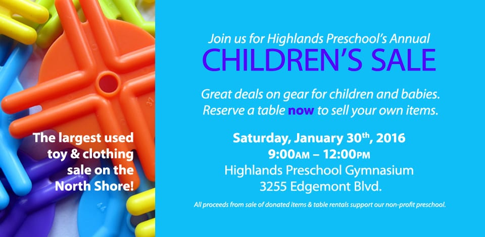 Highlands Preschool Annual Children's Sale