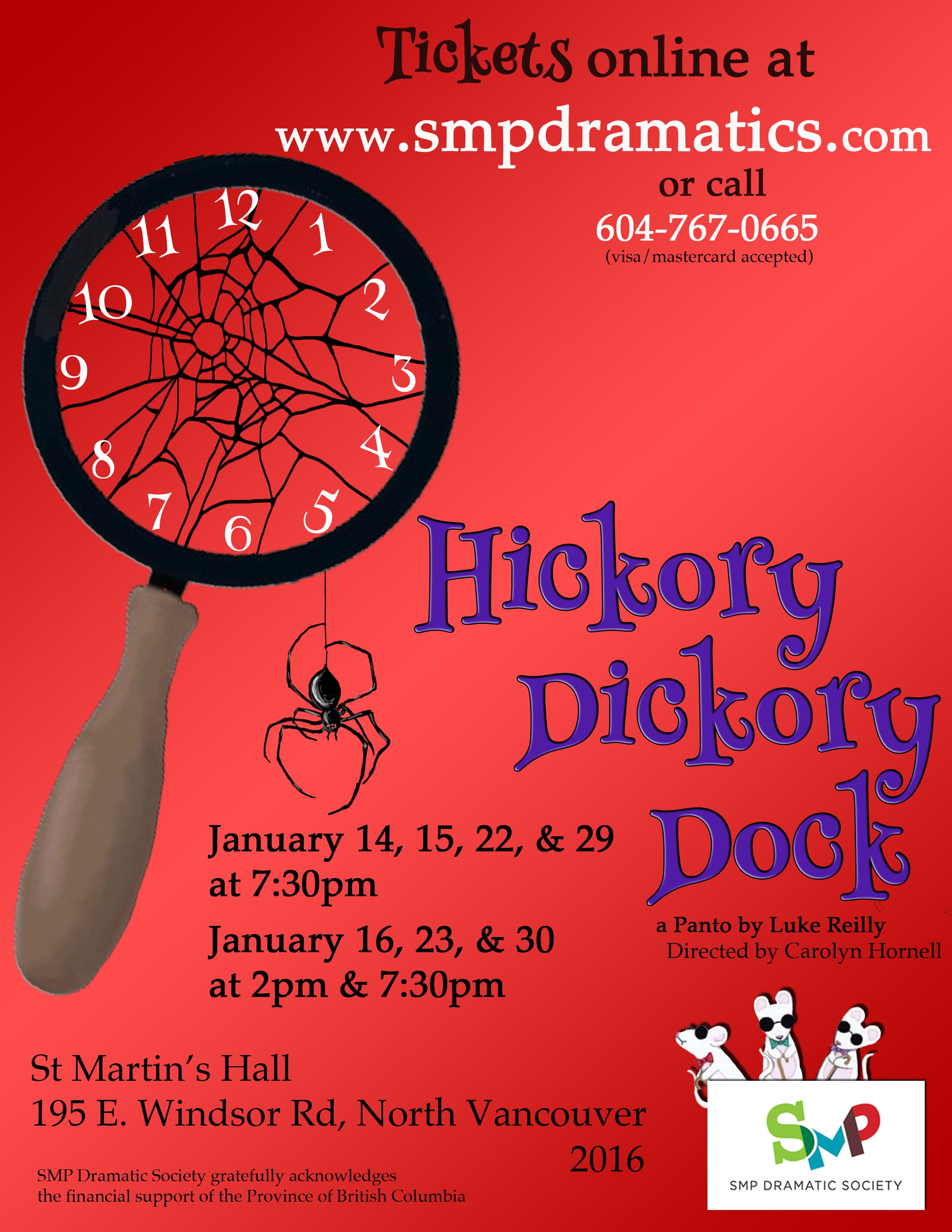 SMP Hickory Dickory Dock Pantomime at the St Martins Hall North Vancouver