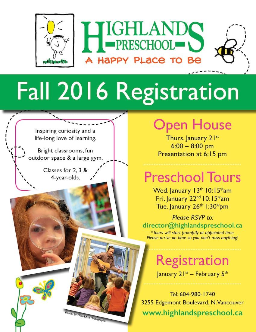 Highlands Preschool – Registration Info Night