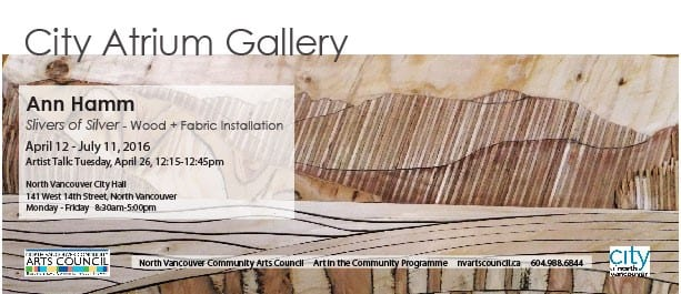 Ann Hamm: Slivers of Silver – Wood +Fabric Installations at the City Atrium Gallery