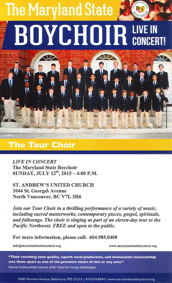 The Maryland State Boychoir – Live in Concert at St. Andrew's United Church