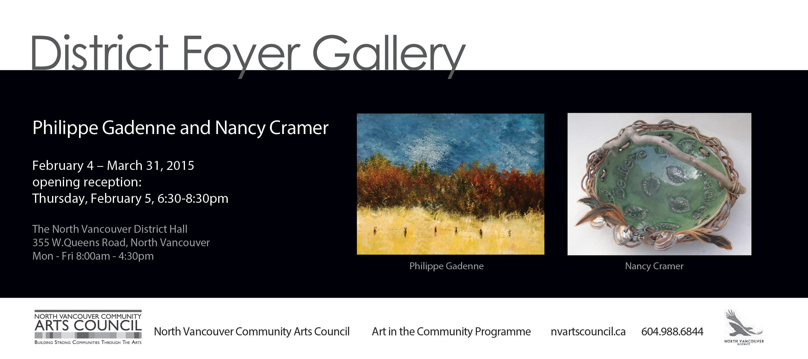 Exhibition – Philippe Gadenne and Nancy Cramer at the District Hall North Vancouver
