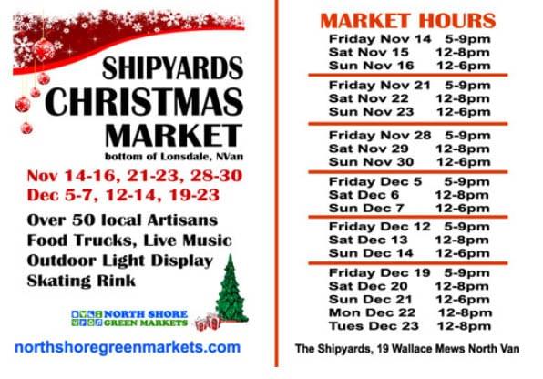 Shipyards Christmas Market North Vancouver