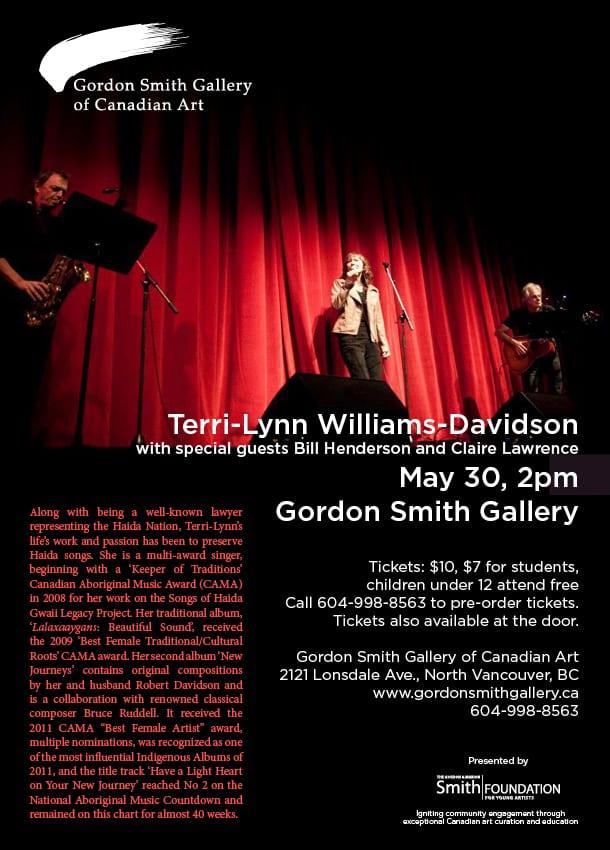 Haida Songs with Singer Terri-Lynn William-Davidson at the Gordon Smith Gallery of Canadian Art