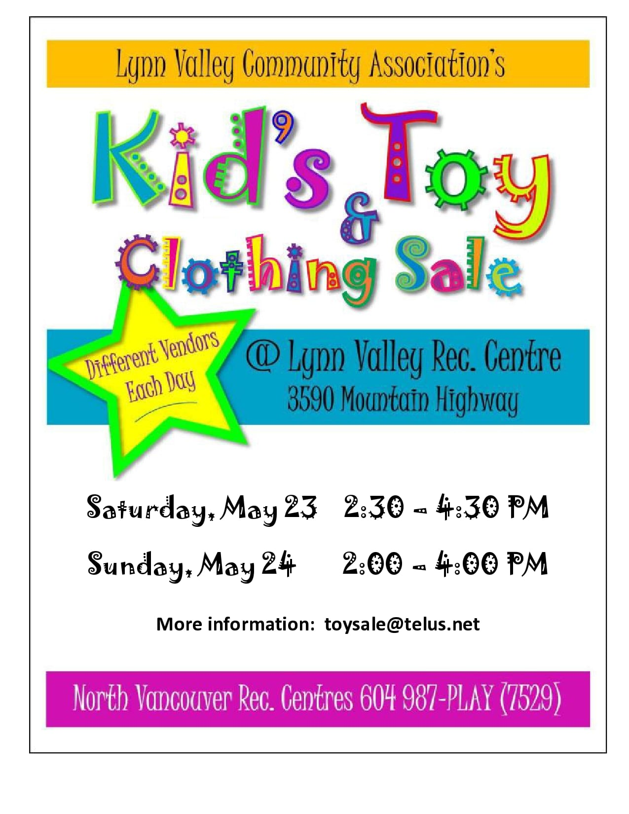 Kid's Toy and Clothing Sale at Lynn Valley Recreation Centre – Cardinal Hall