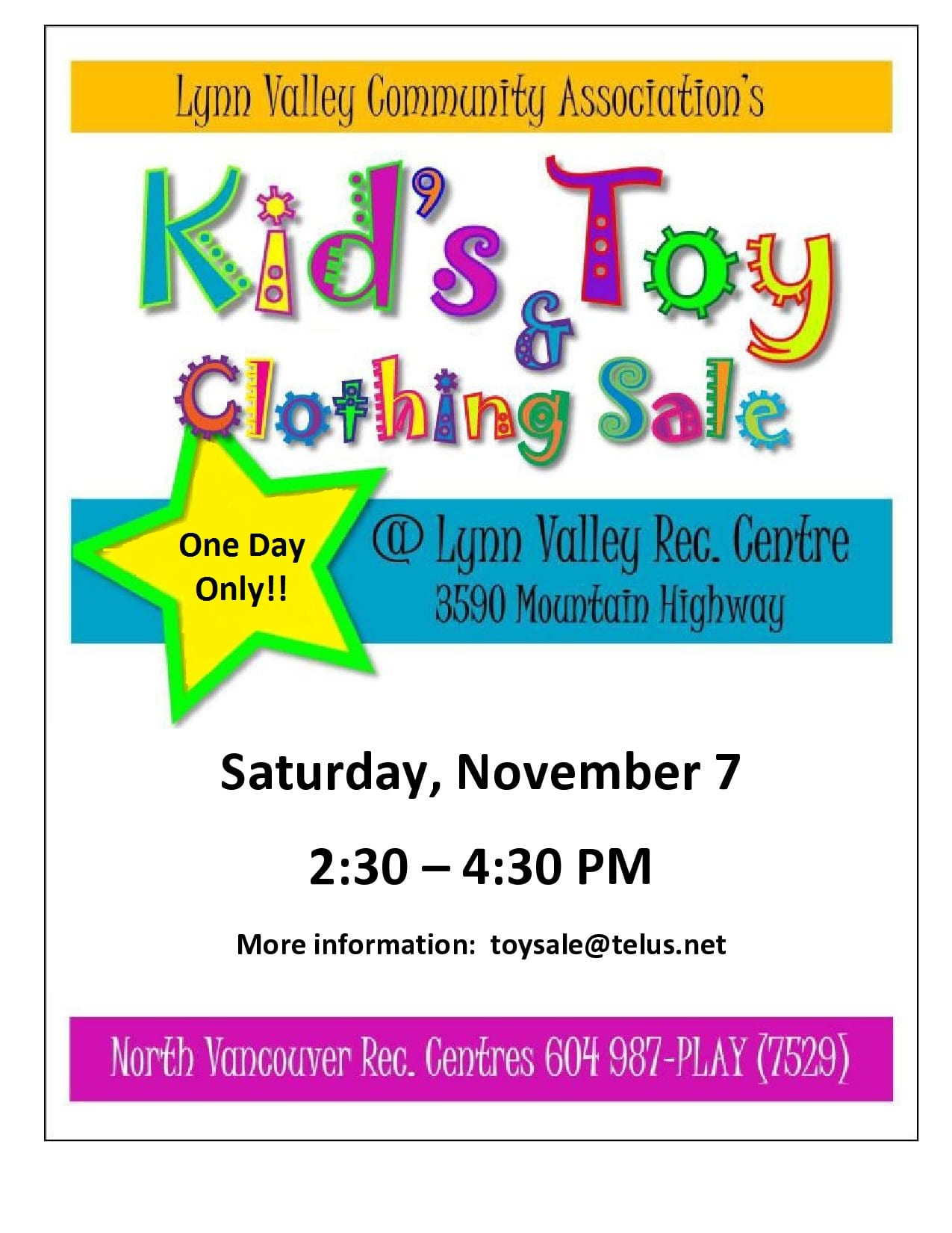 Kid's Toy & Clothing Sale at the Lynn Valley Recreation Centre