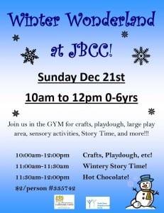 Winter Wonderland at John Braithwaite Community Centre For Children 0-6 yrs