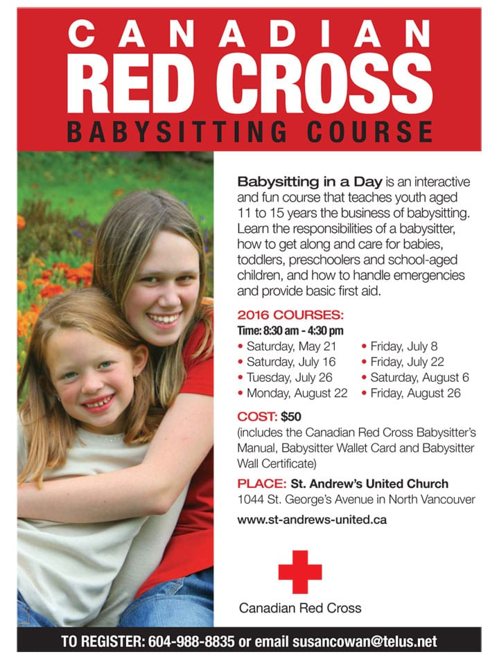 Canadian Red Cross Babysitting Course at St. Andrew's United Church North Vancouver