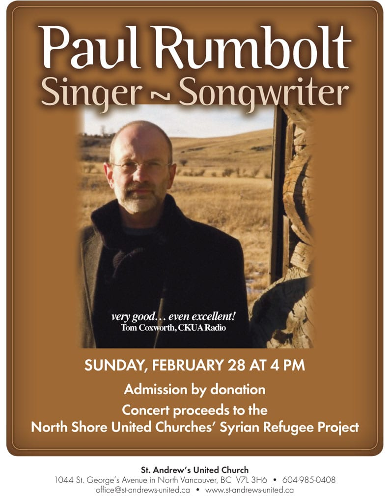 Singer Songwriter Paul Rumbolt in Concert at St. Andrew's United Church North Vancouver