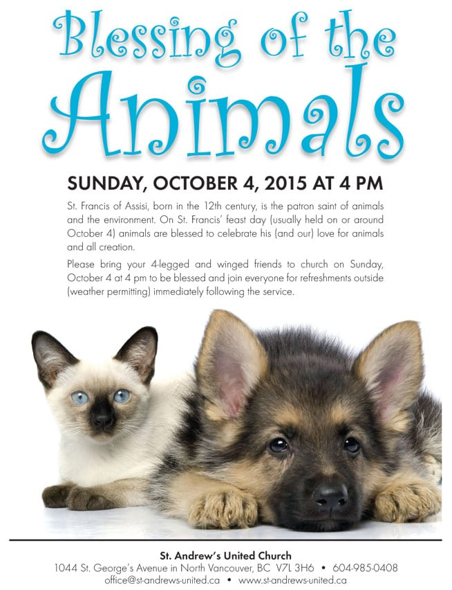 Blessing of the Animals at St. Andrew's United Church