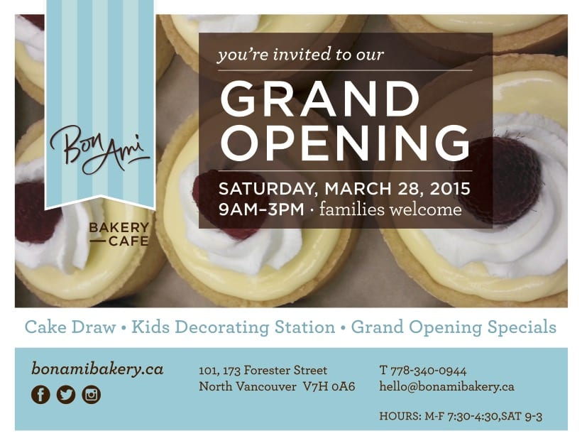 Bon Ami Bakery Grand Opening Celebration in North Vancouver