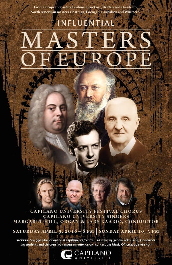 Influential Masters of Europe at the BlueShore Financial Centre for the Performing Arts