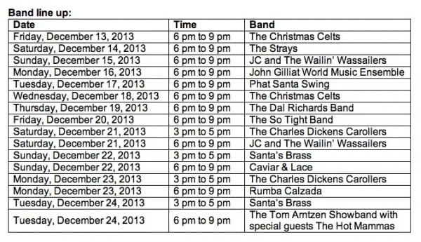 Robson Ice Rink - Live Bands Schedule