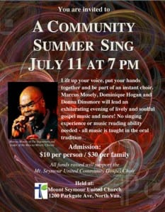 Community Summer Sing at Mt. Seymour United Church North Vancouver