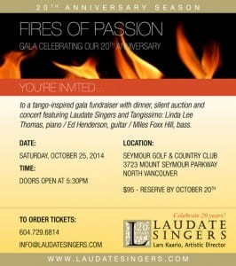 Laudate Singers 'Fires of Passion' at the Seymour Golf & Country Club North Vancouver