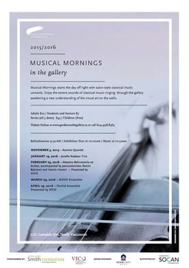 Musical Mornings in the Gordon Smith Gallery of Canadian Art North Vancouver