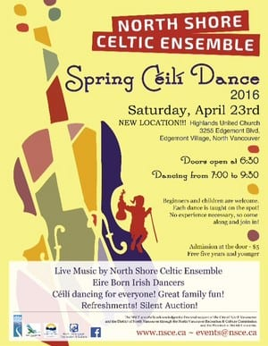North Shore Celtic Ensemble Spring Ceili Dance at Highlands United Church North Vancouver