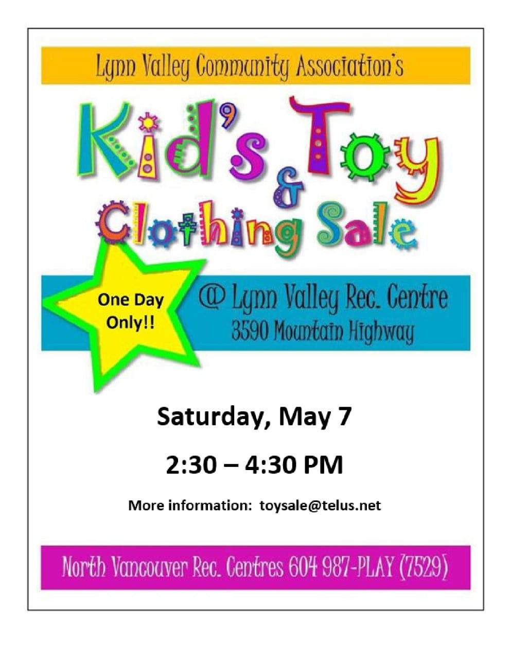 Kid's Toy & Clothing Sale at the Lynn Valley Recreational Centre North Vancouver
