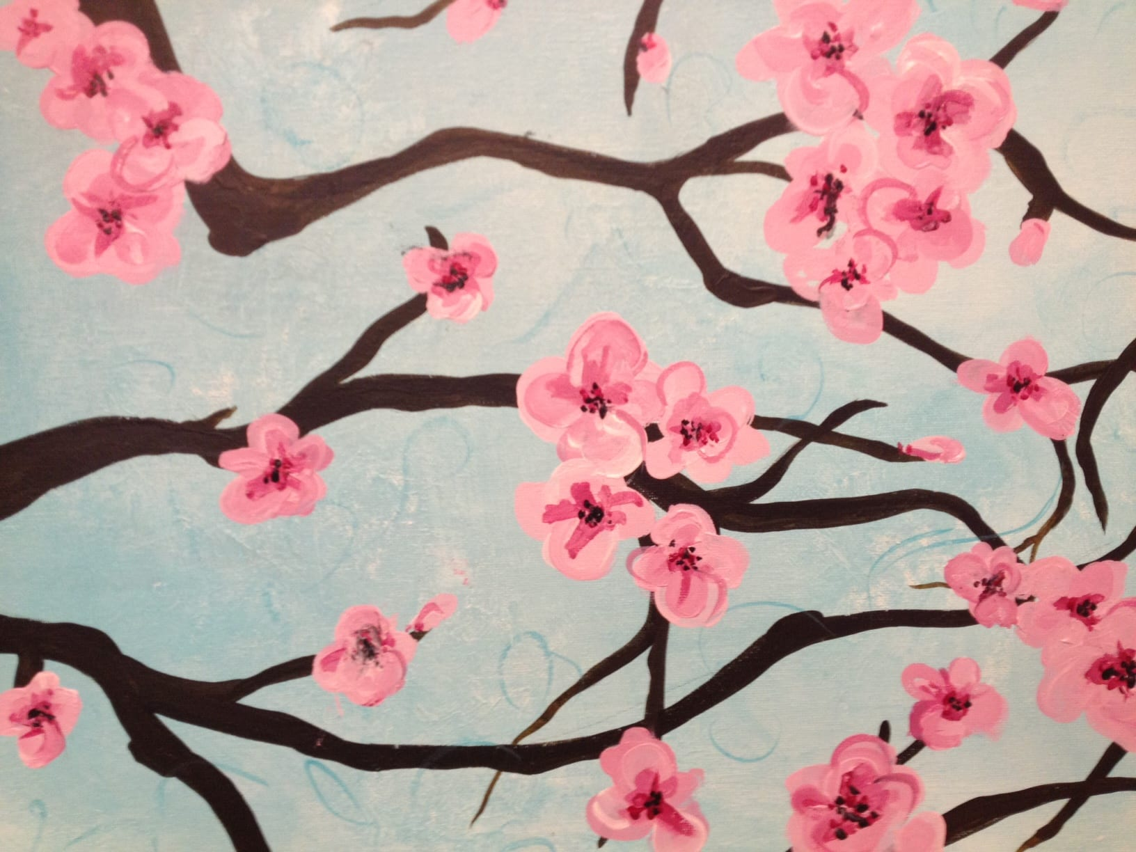 Monday mini workshops in acrylic painting general north for Cherry blossom mural works