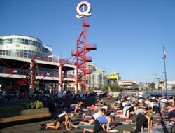 Free Outdoor Yoga at Waterfront Plaza by Lonsdale Quay Market North Vancouver